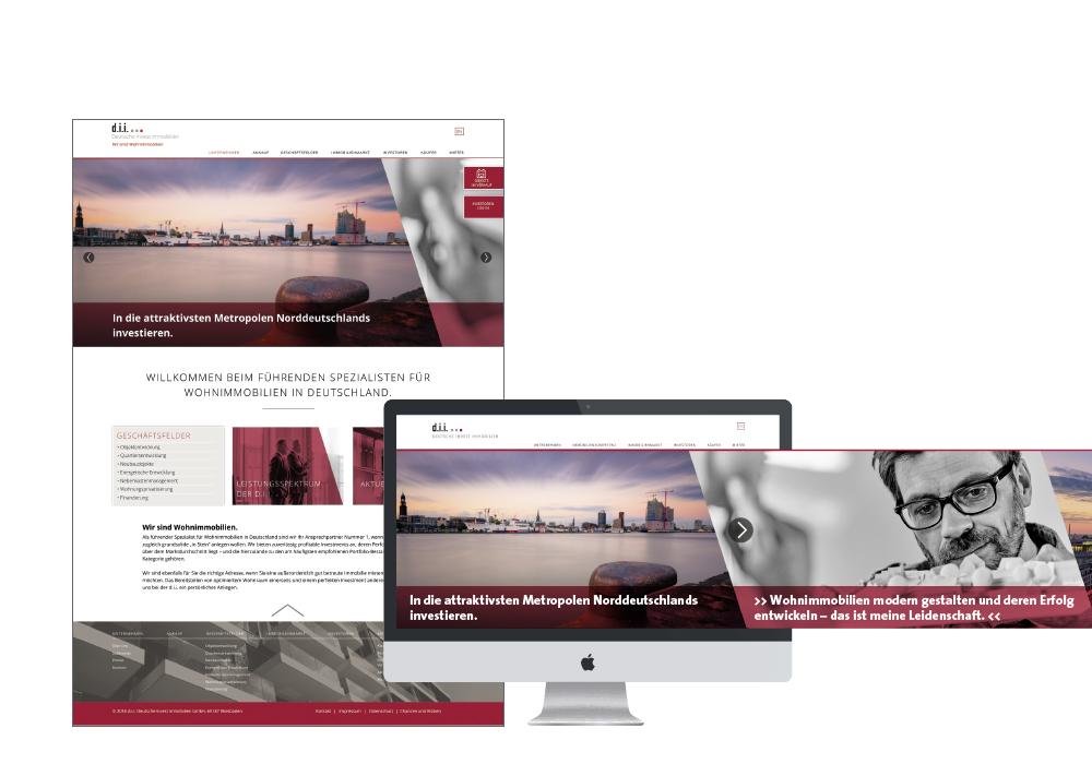 Internetauftritt: Großformatige Teaser auf der Startseite mit Slider-Funktion